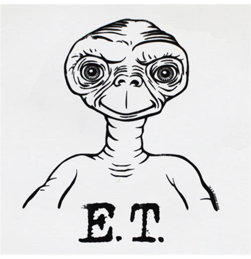white tee shirt outline. ET Extra Terrestrial Outline T
