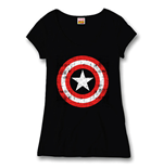 Captain America Ladies T-Shirt Logo black