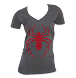 Spider-Man Women's Charcoal Spider Logo V-Neck