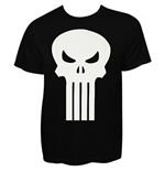 PUNISHER White Skull Black Graphic Tee Shirt