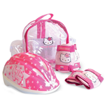 HELLO KITTY Helmet XS (48 - 52 cm), Protective Pads & Crystal Bag