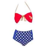 WONDER WOMAN High Waist Women's Front Tie Bandeau Bikini