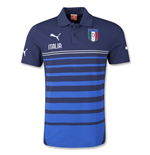 2014-15 Italy Puma Hooped Polo Shirt (Blue) - Kids