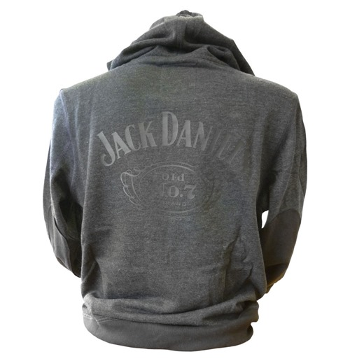 JACK DANIEL'S Classic Old No. 7 Small Hoodie with Full Length Front Zipper, Grey
