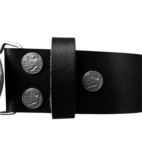JACK DANIEL'S Black Belt with Classic Old No. 7 Metallic Silver Oval Belt Buckle, Medium