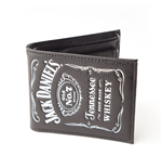 JACK DANIEL'S Bifold Classic Leather Wallet with Classic Embossed White Logo, Black