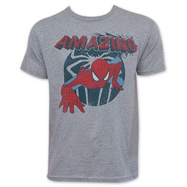 Spider-Man Retro Amazing Spider Grey Tee Shirt