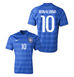 2014-15 Brazil World Cup Away Shirt (Ronaldinho 10)