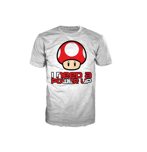 NINTENDO SUPER MARIO BROS. Red Mushroom I Need A Power Up Men's Small T-Shirt, White