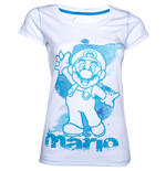 NINTENDO SUPER MARIO BROS. Mario Womens Large T-Shirt, White/Blue