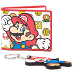 NINTENDO SUPER MARIO BROS. Mario Wallet and Character Keychain Giftset