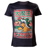 NINTENDO SUPER MARIO BROS. Bowser with Kanji Text Mens Large T-Shirt, Black