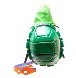 TEENAGE MUTANT NINJA TURTLES (TMNT) Green Hooded Turtle Shell Shield Backpack with Mask, Green/Yellow