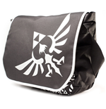 ZELDA Polyester Messenger Bag with Embroider Link Logo, Black/White