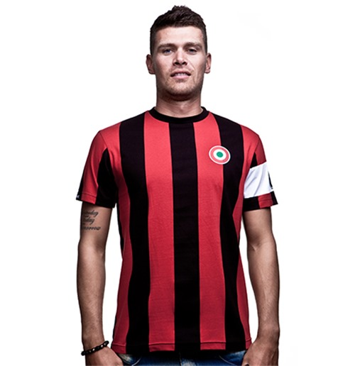 Milan Capitano T-Shirt // Black Red 100% cotton
