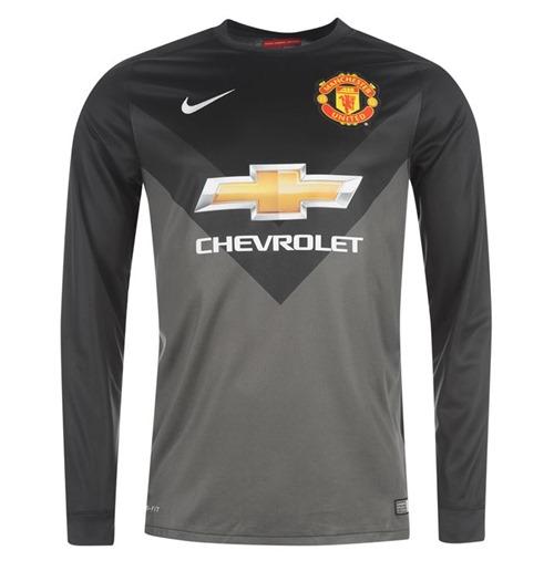 new style f8e78 c0856 2014-2015 Man Utd Away Nike Goalkeeper Shirt (Black) - Kids