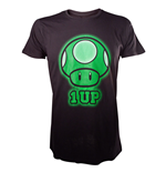 NINTENDO SUPER MARIO BROS. 1-Up Green Mushroom Extra Large T-Shirt, Black