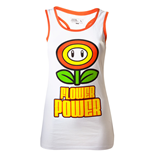 NINTENDO SUPER MARIO BROS. Girls Flower Power Small Tank Top, White/Orange