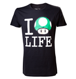NINTENDO SUPER MARIO BROS. I Love Mushroom Life Medium Shirt, Black