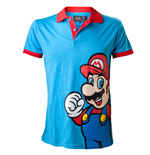 NINTENDO SUPER MARIO BROS. Mario Extra Large Polo Shirt, Blue/Red
