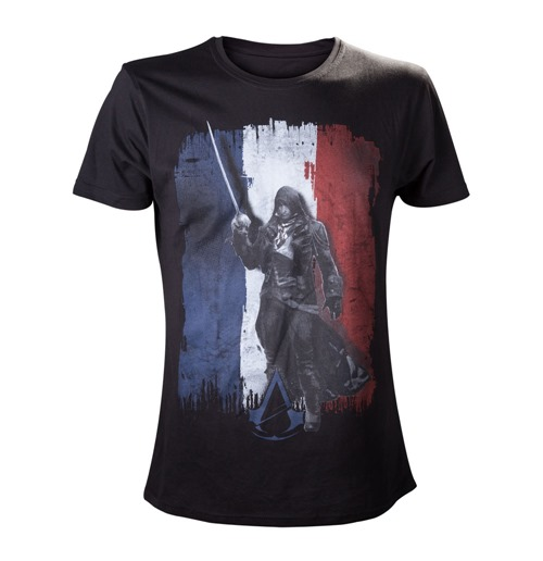 ASSASSIN'S CREED Unity French Tricolour Large T-Shirt, Black