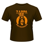 Frank Zappa T-shirt Zappa For President (BROWN)