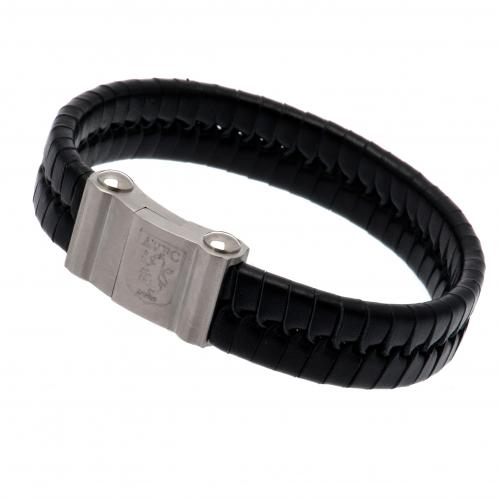 Aston Villa F.C. Single Plait Leather Bracelet