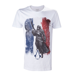 ASSASSIN'S CREED Unity French Tricolour Flag Medium T-Shirt, Adult Male, White