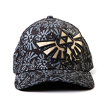 NINTENDO LEGEND OF ZELDA Golden Link Symbol Flex Baseball Cap with Grey Logo All-over Pattern, Black/Grey