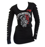 SONS OF ANARCHY Slashed Long Sleeve Black Women's Roses Shirt