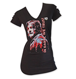 The WALKING DEAD Slashed Sleeve Black Women's Daryl Tee Shirt