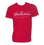 BUDWEISER Red Men's White Logo T-Shirt