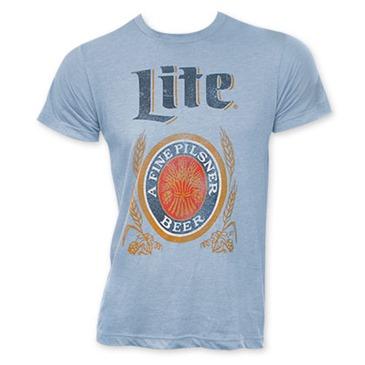 Buy Official Miller Lite Classic Logo Men S Light Blue T Shirt