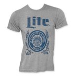 MILLER Lite Grey Men's Blue Logo T-Shirt