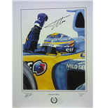 Alonso 'World Champion' 2005-2006 Signed Canvas Print with Certificate.