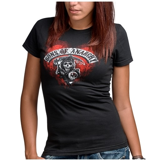 SONS OF ANARCHY Women's Heart Logo Tee Shirt