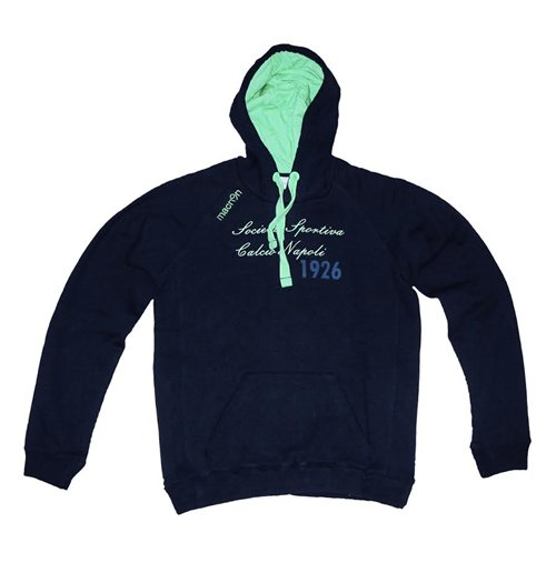 2014-2015 Napoli Macron Hooded Top (Navy-Green) - Kids