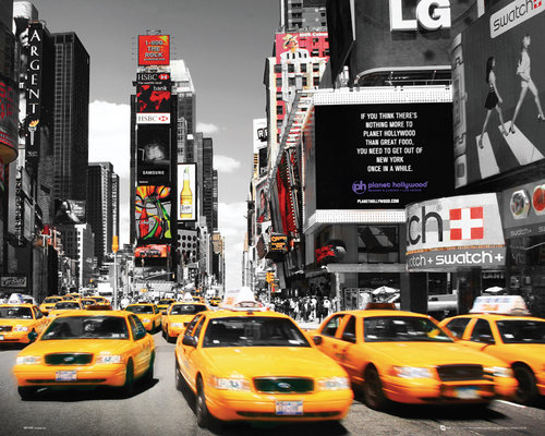 New York Times Square Yellow Cabs Mini Poster