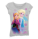 Disney FROZEN Grey Anna And Elsa Girls 7-16 Tee Shirt