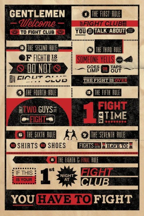Fight Club Rules Infographic Maxi Poster