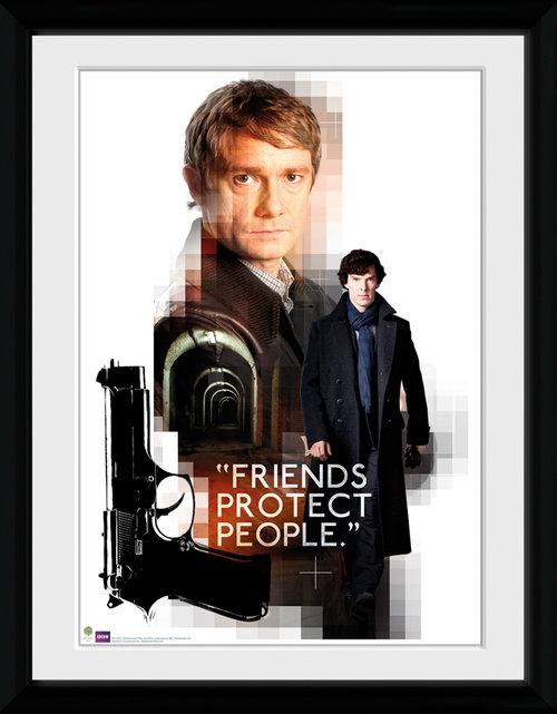 Sherlock Friends Protect Framed Collector Print