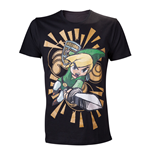 NINTENDO Legend of Zelda Wind Waker Link Attacks Large T-Shirt, Black