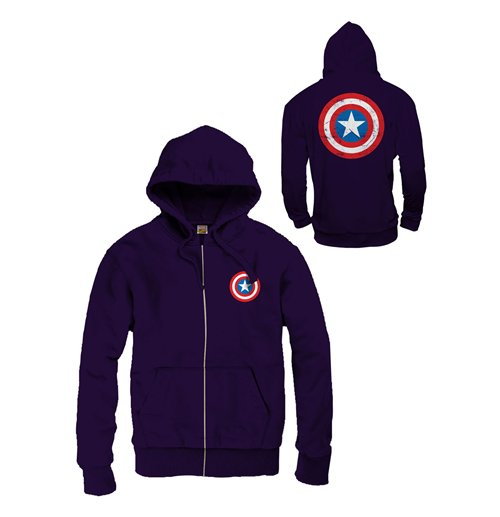 Captain America Zipped Hooded Sweater Logo