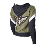 NINTENDO Legend of Zelda Female Royal Crest Full Length Zip Hoodie, Small, Green/Black