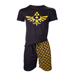 NINTENDO Legend of Zelda Men's Shortama Nightwear Set, Small, Black/Gold (SI4O1572NTN-S)