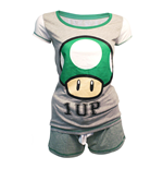 NINTENDO Super Mario Bros. Female Green 1-UP Mushroom Shortama Nightwear Set, Small, Grey/Green