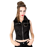 Black Pistol Punk Vest Denim