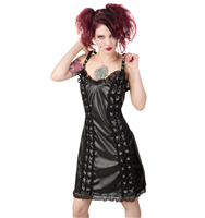 Black Pistol Eyelett Mini Dress Sky