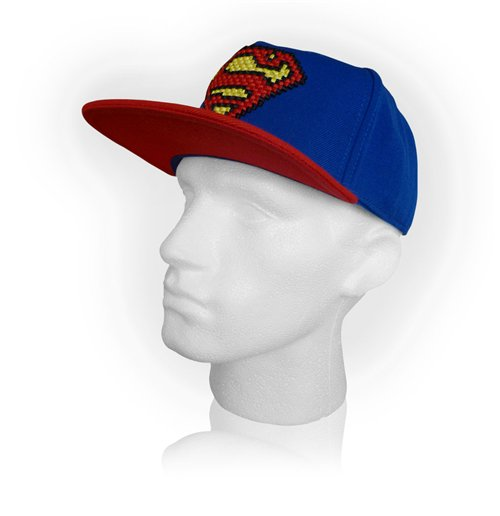 DC COMICS Superman Pixelated Logo Snapback Baseball Cap, Blue/Red