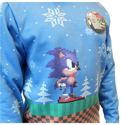 SEGA Sonic the Hedgehog Small Christmas Jumper, Blue for only ...
